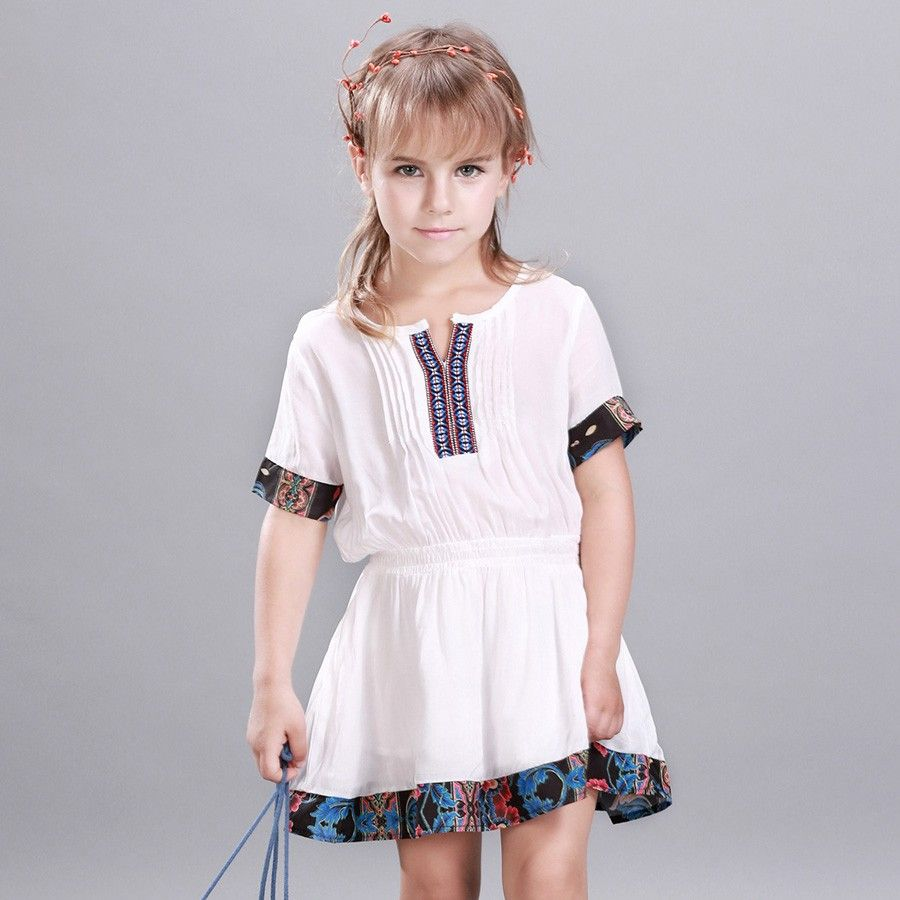 ca5fea1bac659 Kids Dress Summer Style Girls Casual Ethnic Dresses A line Cotton ...