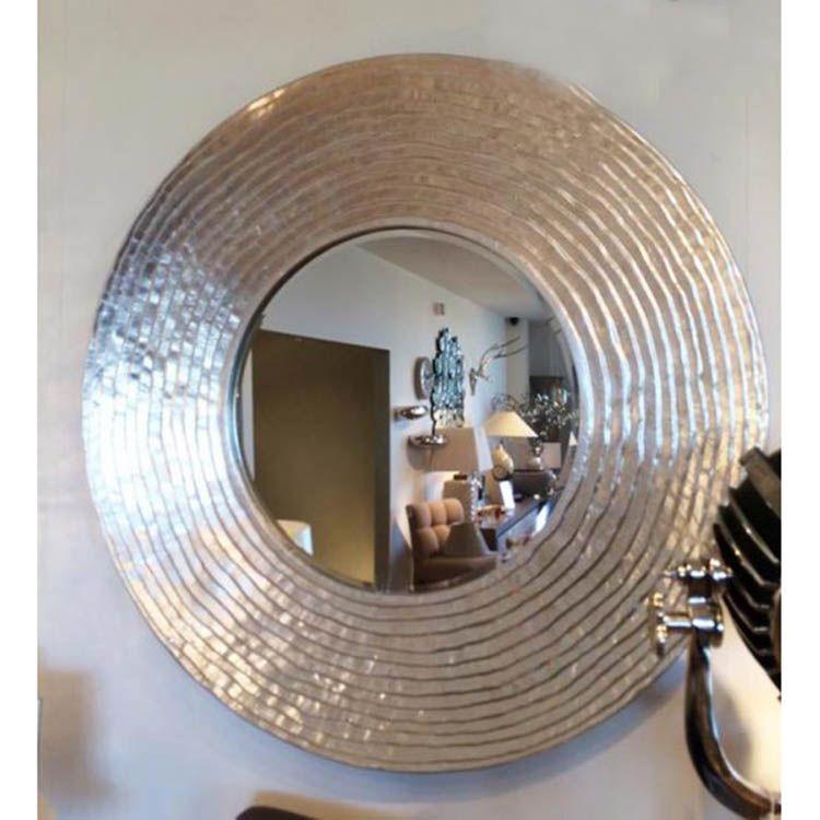 Large Round Silver Ripple Mirror 108cm Mirror Hall