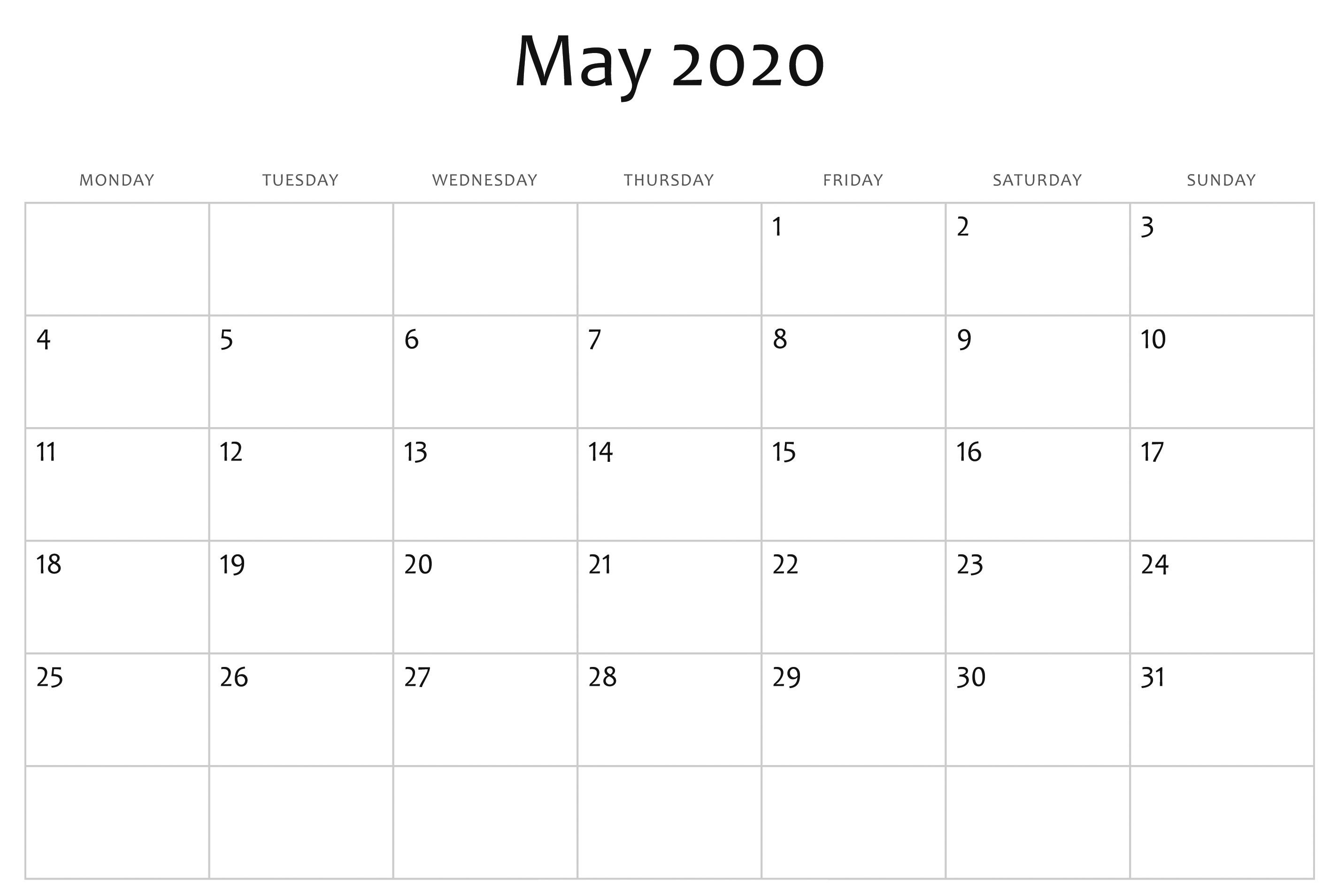 May Calendar 2020 Free Printable Template Pdf Word Excel