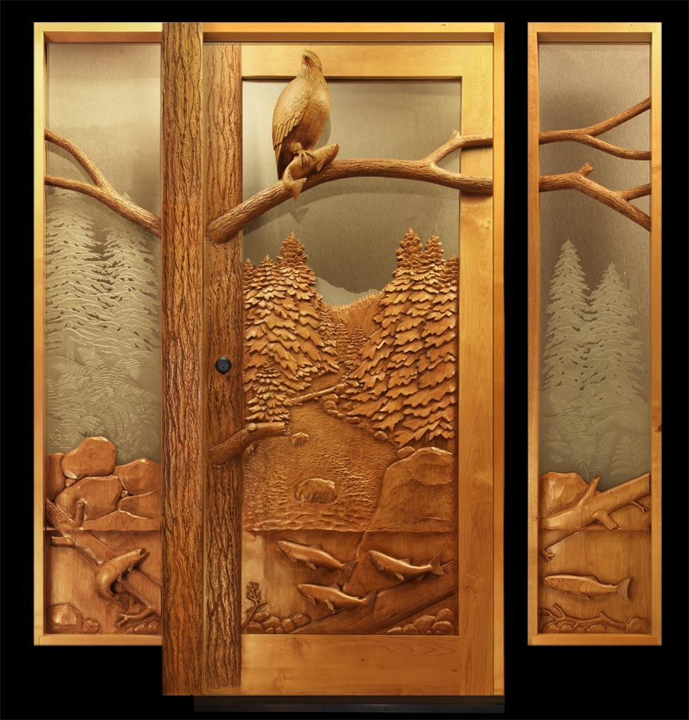 homely idea personalized door knocker. Woodworking ideas Carved wooden doors by Ron Ramsey Door with an Eagle and Salmon  Doors Pinterest