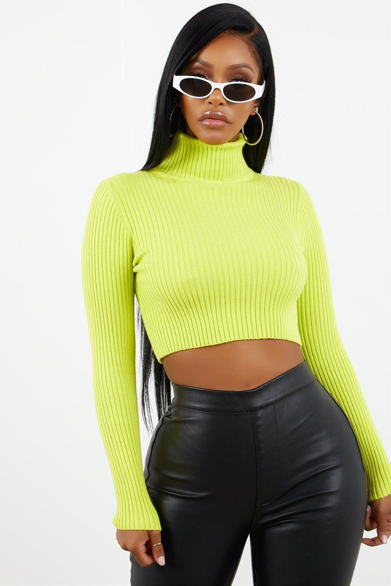 519b87a638f Neon Green Turtle Neck Sweater Top | OUTFIT INSPO | Turtle neck ...
