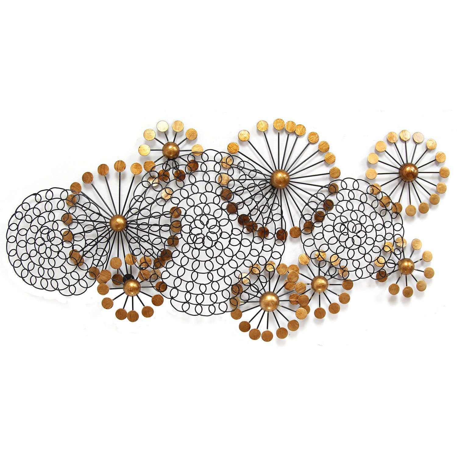 Add dimension to your home with the Spiral Circles Wall Decor. Made from durable metal with shiny gold circle accents, this cluster of spiral pieces is simple yet striking. Display it in a contemporary-style home as a whimsical accent piece.