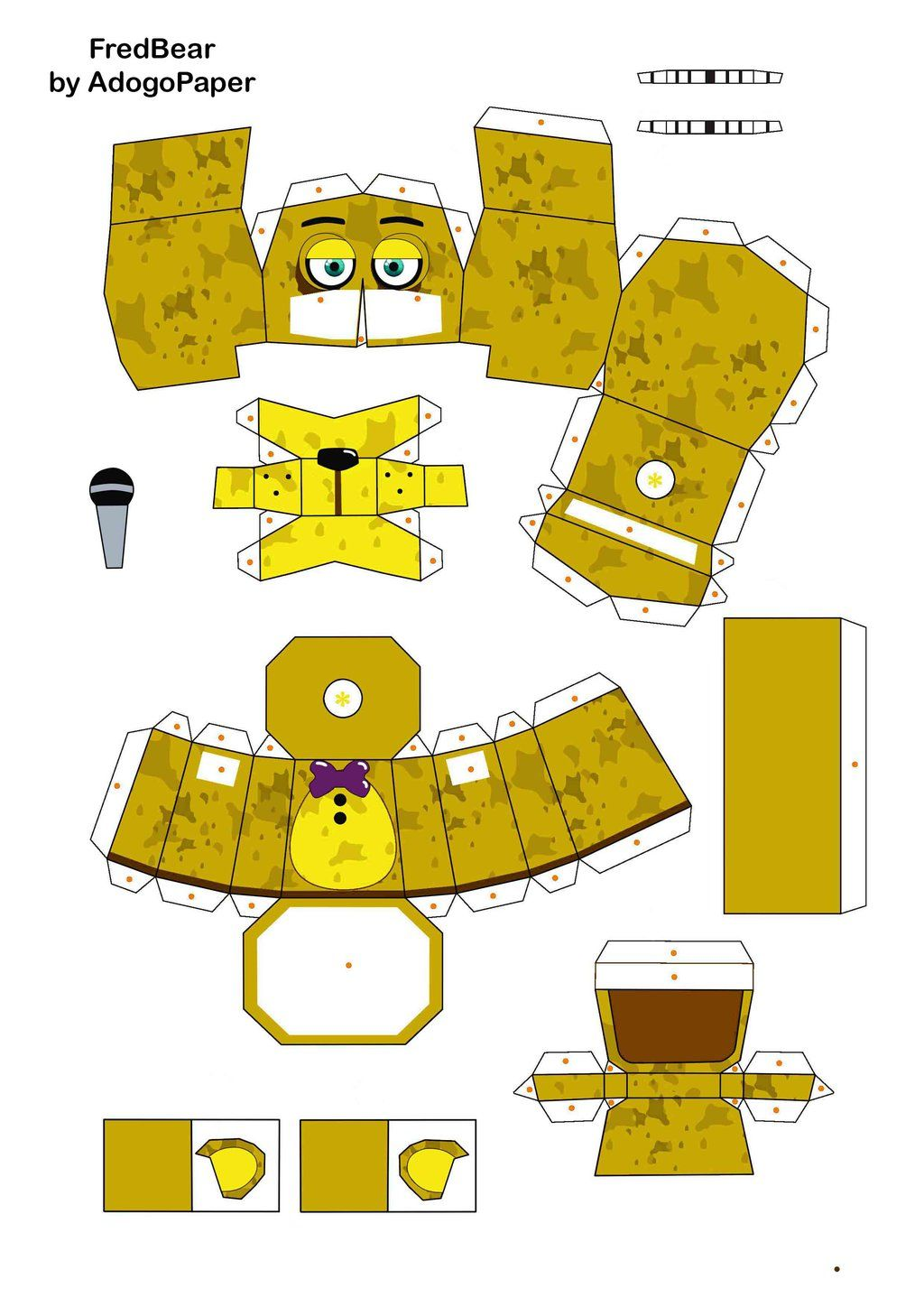 1 of 2 - five nights at freddy\'s FredBear papecraft P1 by A… | Five ...