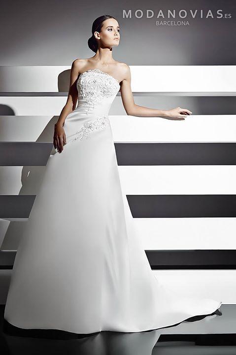Vestido de novia 1017 estilo evasé hecho de raso con escote palabra ...