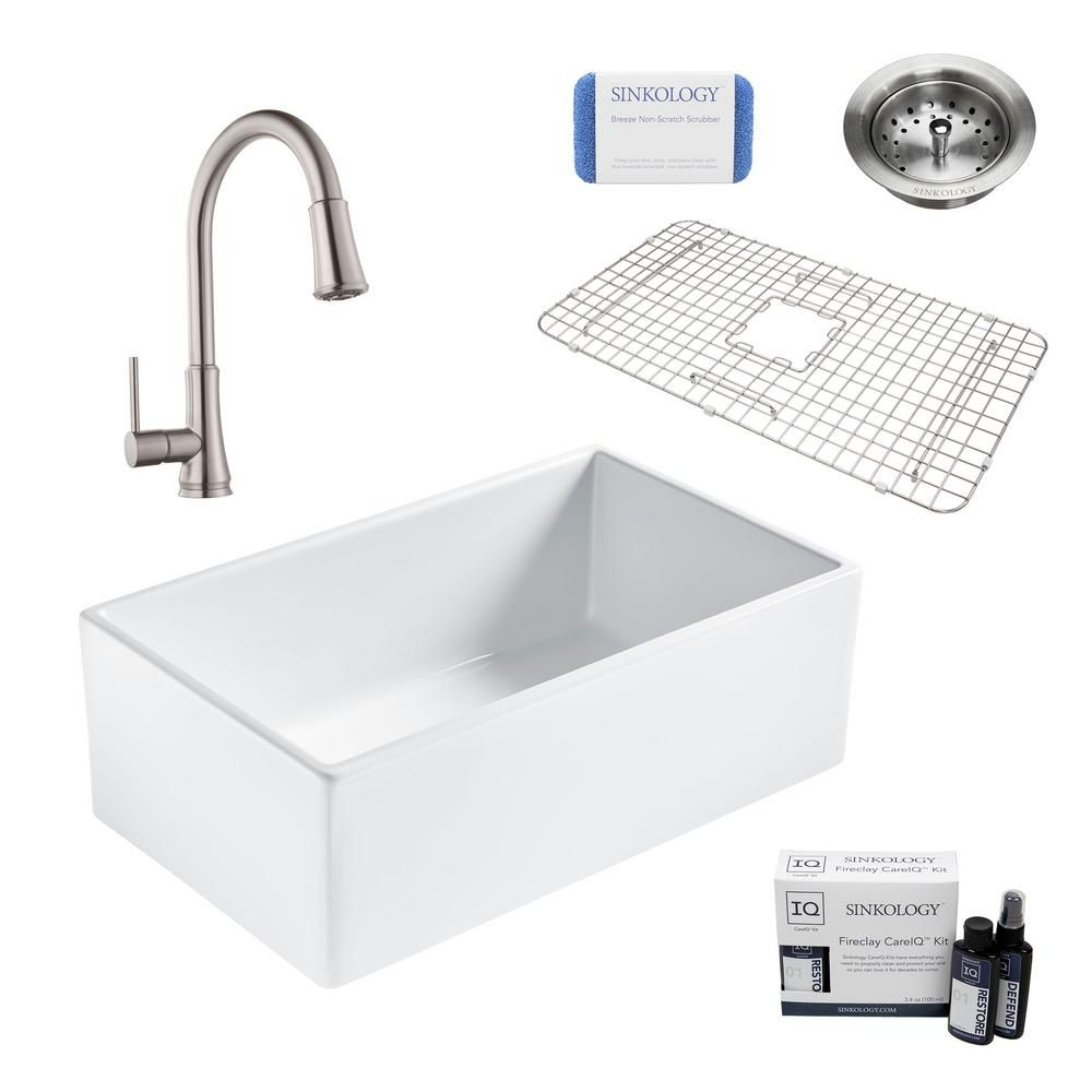 Sinkology Bradstreet Ii All In One Farmhouse Fireclay 30 In Single Bowl Kitchen Sink With Stainless Faucet And Drain Sk499 30 Pf1 B In 2020 Single Bowl Kitchen Sink Double Bowl Kitchen Sink Sink