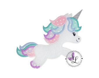 Unicorn applique embroidery design instant download cute stuff