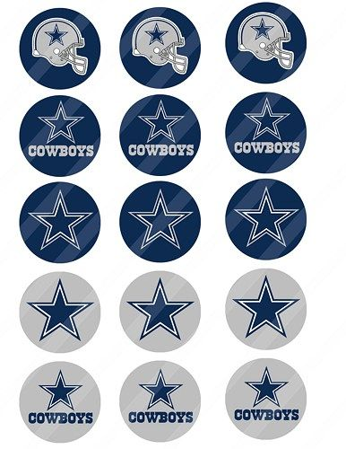 Dallas Cowboys Digital Collage Toppers 2 Inches Round 8