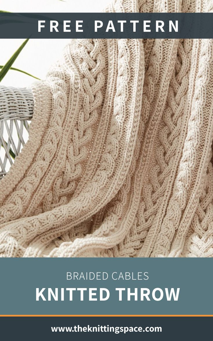 Braided Cables Knitted Throw [FREE Knitting Pattern]