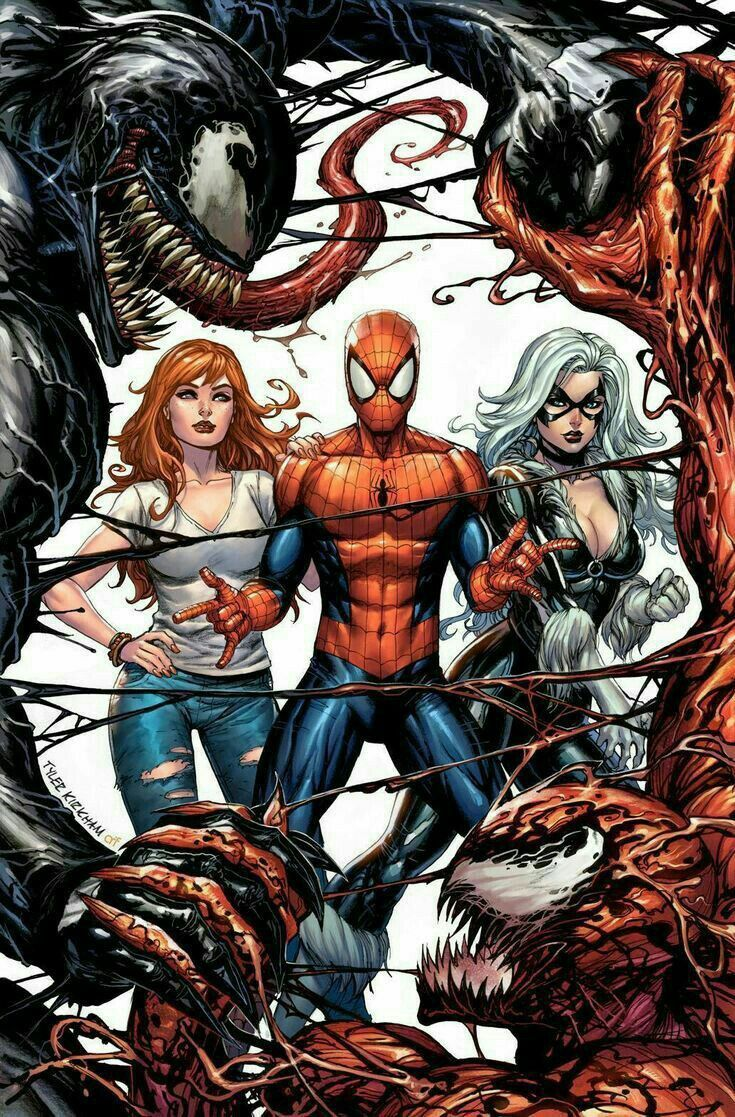 here's another awesome pic of spider-man with mary jane, black cat