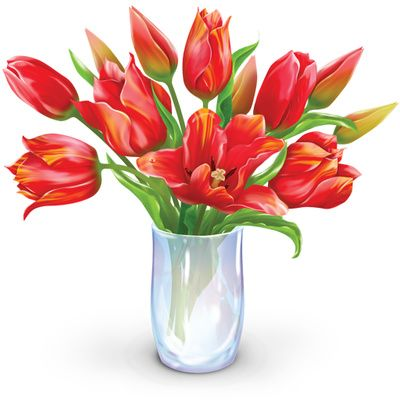Vase Of Flowers Clip Art | Flower Bouquet Clipart, Dozen Tulips ...