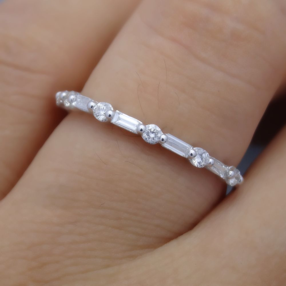 wedding anniversary rings Baguette Diamond Solid 14K White Gold Engagement Wedding Anniversary Ring Solitaire