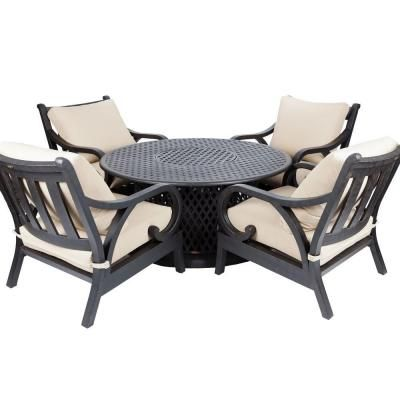 Patio Sense 53 In Lombok Propane Gas Patio Fire Pit Chat Set 61611 The Home Depot Gas Firepit Fire Pit Furniture Fire Pit Chairs