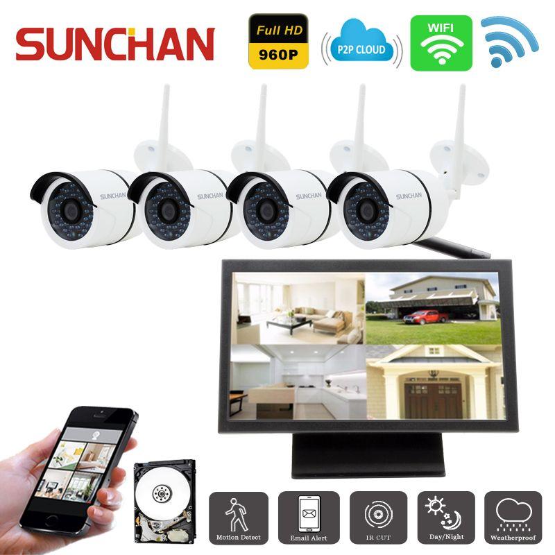 SUNCHAN 4CH Security Camera System 4*960P IP Camera 4CH CCTV NVR Kit ...