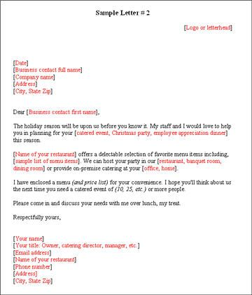 Download Catering Marketing Letter Templates  Oes