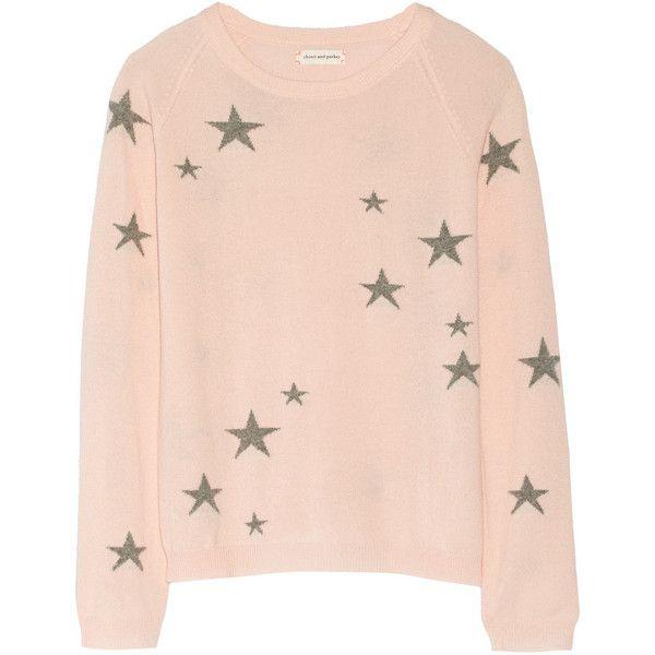 Chinti and Parker Star-intarsia cashmere sweater (£216) ❤ liked on Polyvore featuring tops, sweaters, shirts, cardigans, shirt tops, pink cashmere sweater, cashmere shirt, marled sweater and pink sweater