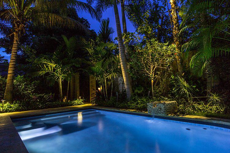 tropical outdoor lighting. Landscape Lighting, Outdoor Living, Low Voltage Tropical Garden, Lighting Design, Pool, Pool Design R