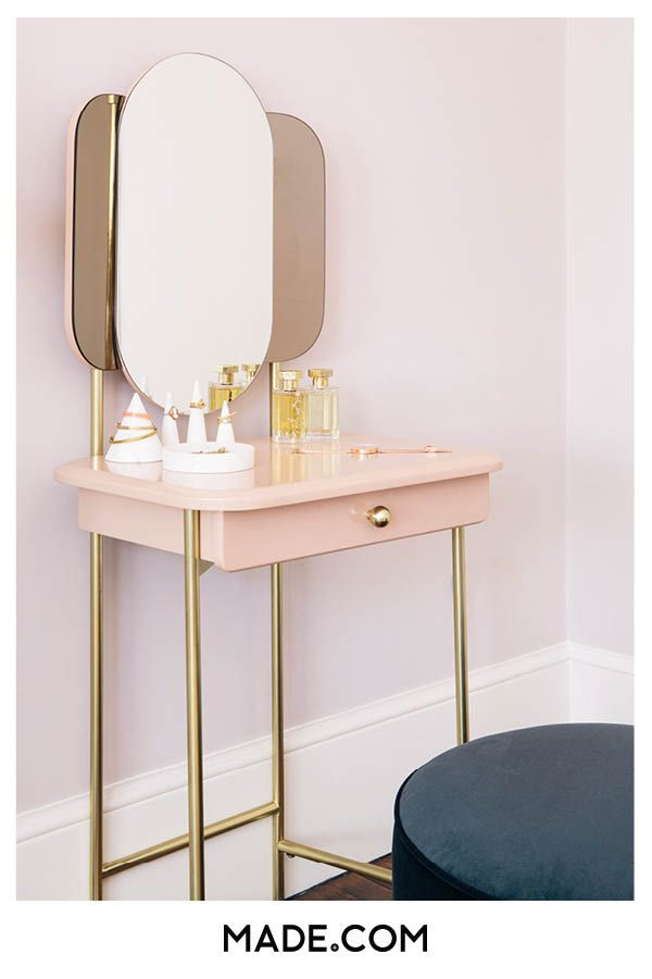 Best Maddie Dressing Table Pink Brass Small Vanity Table 640 x 480
