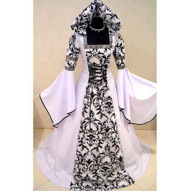 b500e141ddd CosplayDiy Femmes de Blanc et Noir Robe Médiévale Renaissance Victorienne  Robe Cosplay