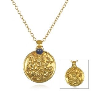 18kt Gold Sapphire and Ganesha Necklace