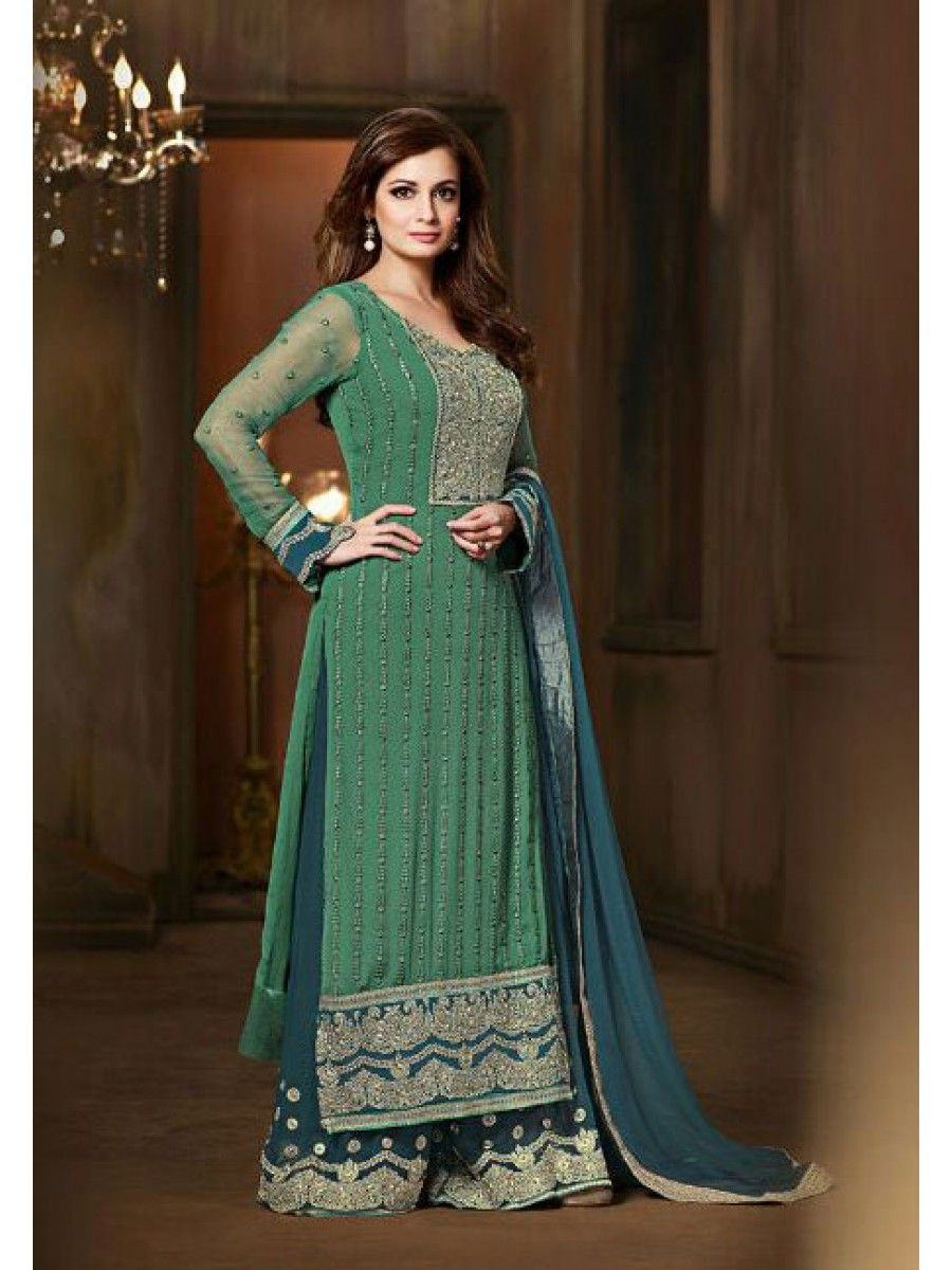 diya mirza designer suits, diya mirza anarkali suits online, diya ...