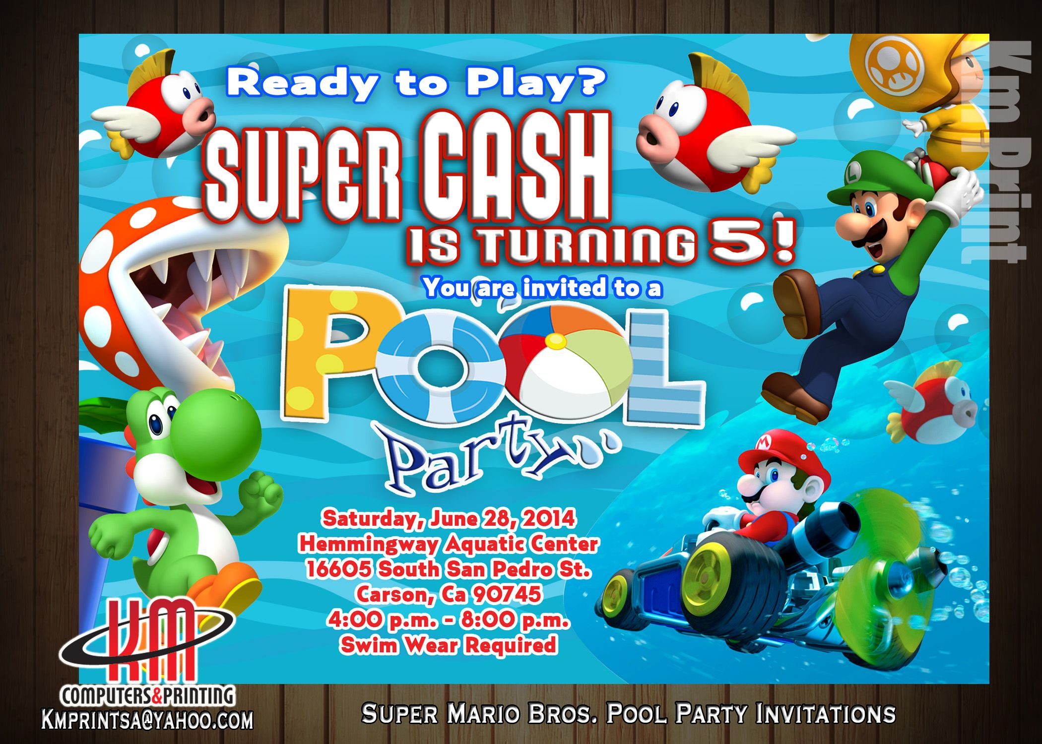 Super Mario Pool Party Invitations Digital 10 Printed email us for