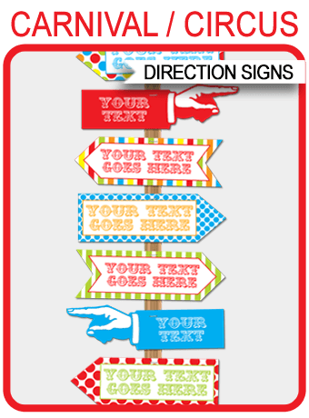 Instant Colorful Carnival Directional Signs Arrows Personalize The Templates At Home With Your Own Text Edit Print Right Now