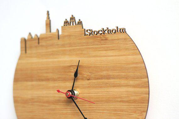 4e0178fe8dce Stockholm Skyline Clock - Sweden Stockholm Map Art Clock - Time Zone ...