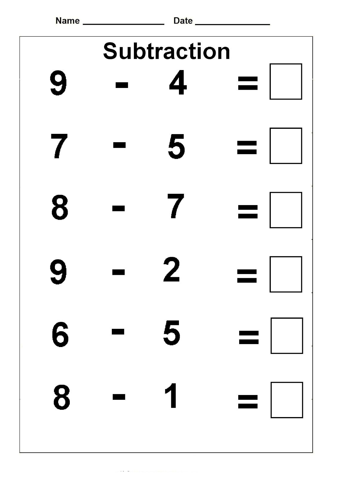 1st Grade Math Worksheets With Images Kindergarten Subtraction