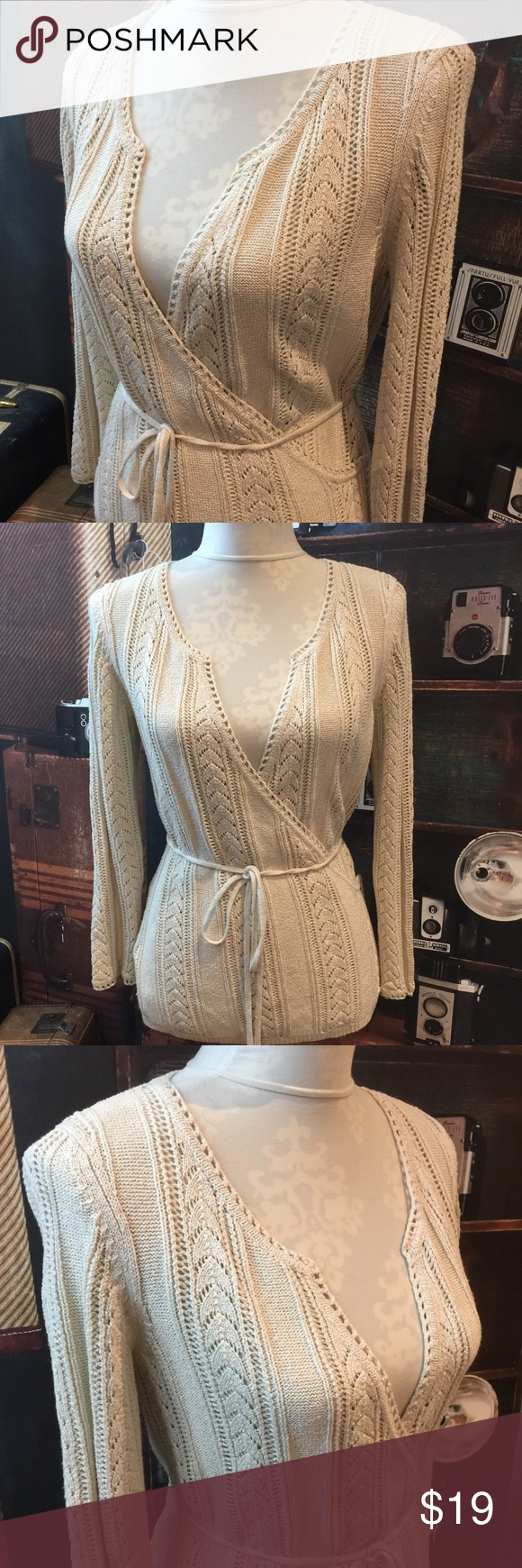 Selling this Anne Taylor Women's Sweater Wrap Knit Belted Silk on Poshmark! My username is: buttonberry. #shopmycloset #poshmark #fashion #shopping #style #forsale #Ann Taylor #Sweaters