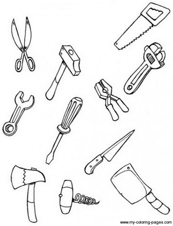 Construction Tools | Coloring Pages | Pinterest | Construction tools