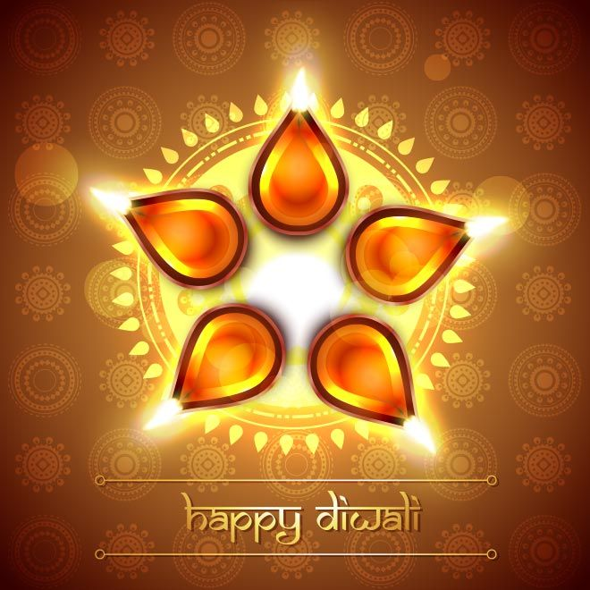 Vector top view of glowing diya with hindu traditional floral art vector top view of glowing diya with hindu traditional floral art pattern and happy diwali typography logo happy diwali greeting card and wa m4hsunfo
