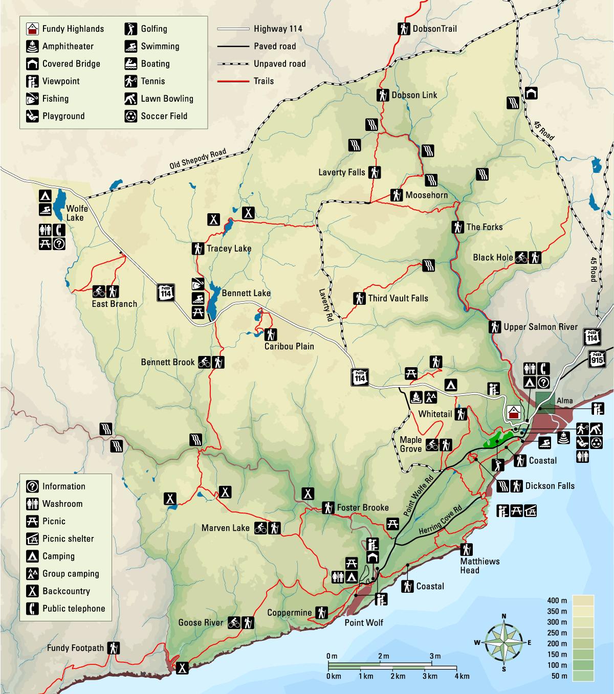 Fundy National Park Map Fundy National Park Map   New Brunswick | Exploring the Canadian