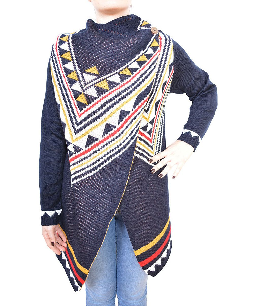 Take a look at this Navy & Yellow Geo Cardigan on zulily today!