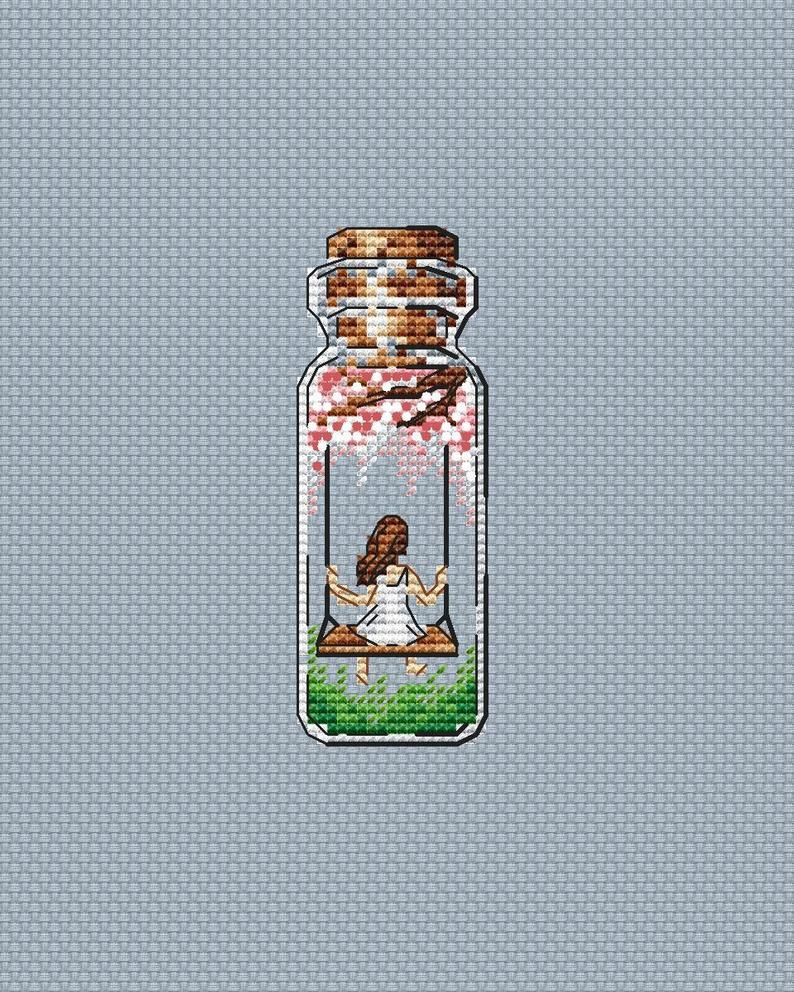 Photo of Swing Cross Stitch Pattern PDF Instant Download Jar Cross Stitch Girl Cross Stitch Bottle Cross Stitch Bright Cross Stitch Cute Xstitch