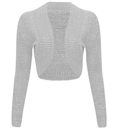 Ladies Crochet Long Sleeve Bolero Shrug Womens Knitted Cardigan Crop Casual Top