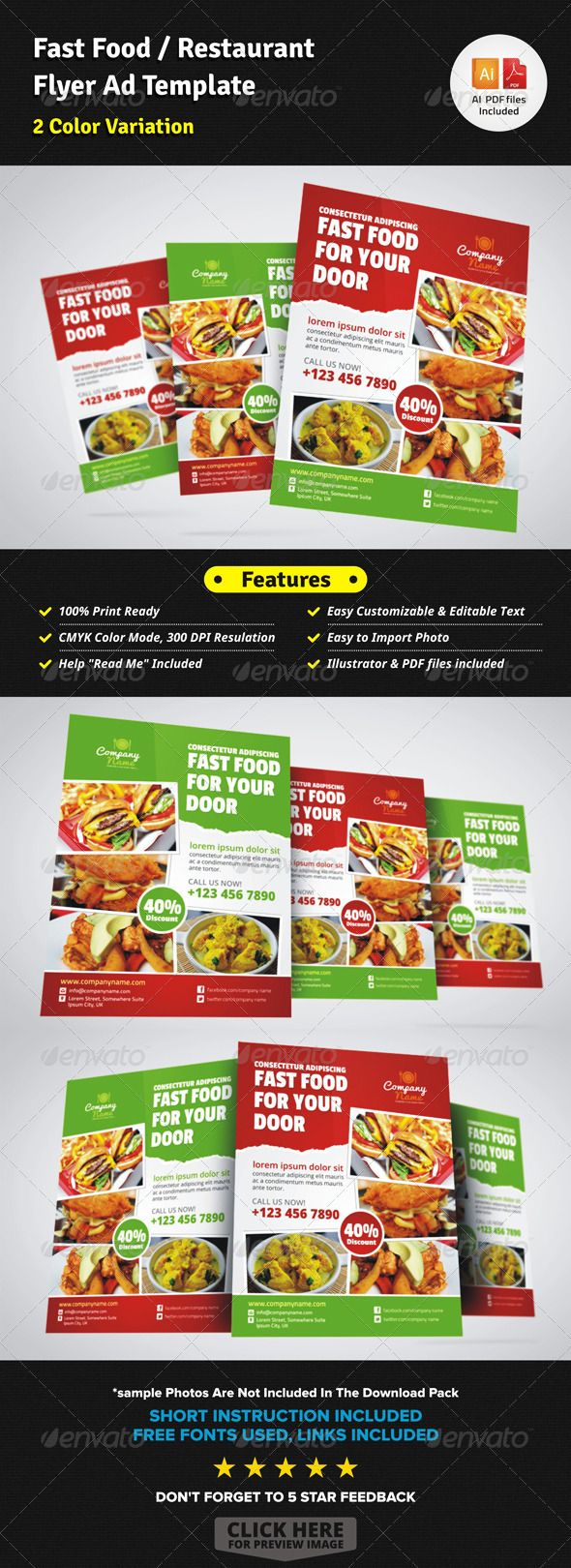 fast food restaurant flyer ad template restaurant magazine buy fast food restaurant flyer ad template by jbn comilla on graphicriver fast food restaurant flyer ad template creative clean and modern creative