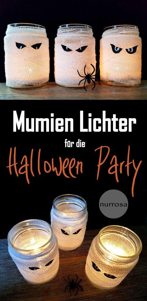 Mumien Teelichter DIY  Gruselige Mumien Lichter Deko für die Halloween Party basteln - kinder  Bastelidee - Mumienlichter - Mumienteelichter - Mumiengläser