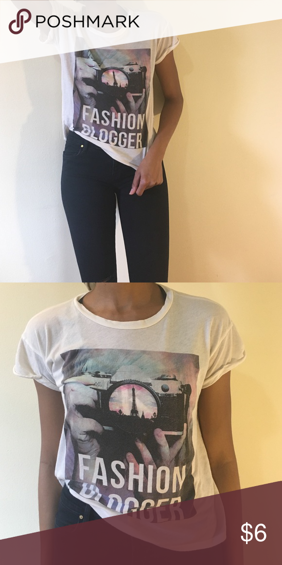 Graphic Tee Shirt If you're not a fashion blogger, you can pretend to be with this tee. It's wide-cut with cuffed sleeves. Tops Tees - Short Sleeve