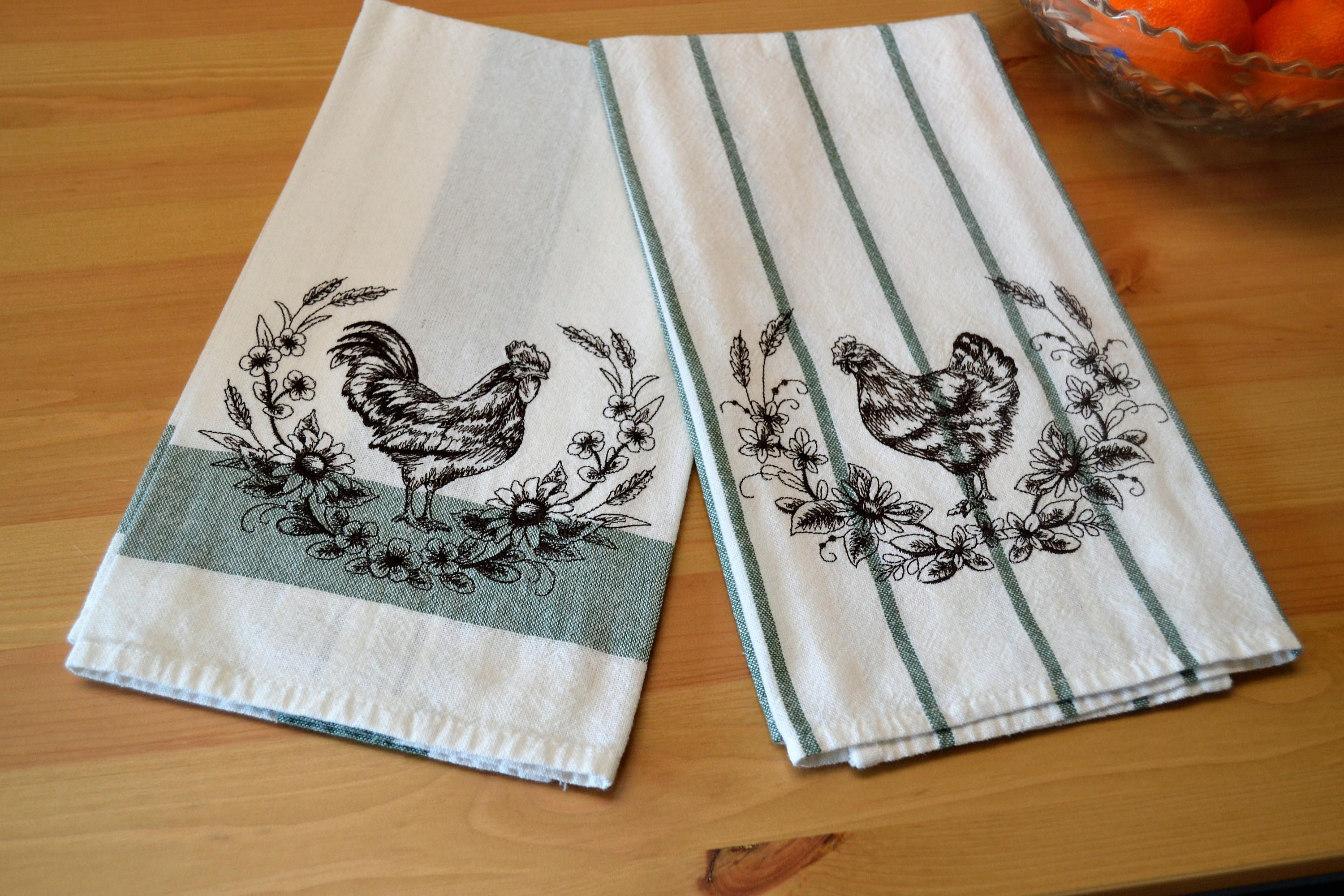 Rooster and Hen kitchen towel set  Chicken kitchen towels
