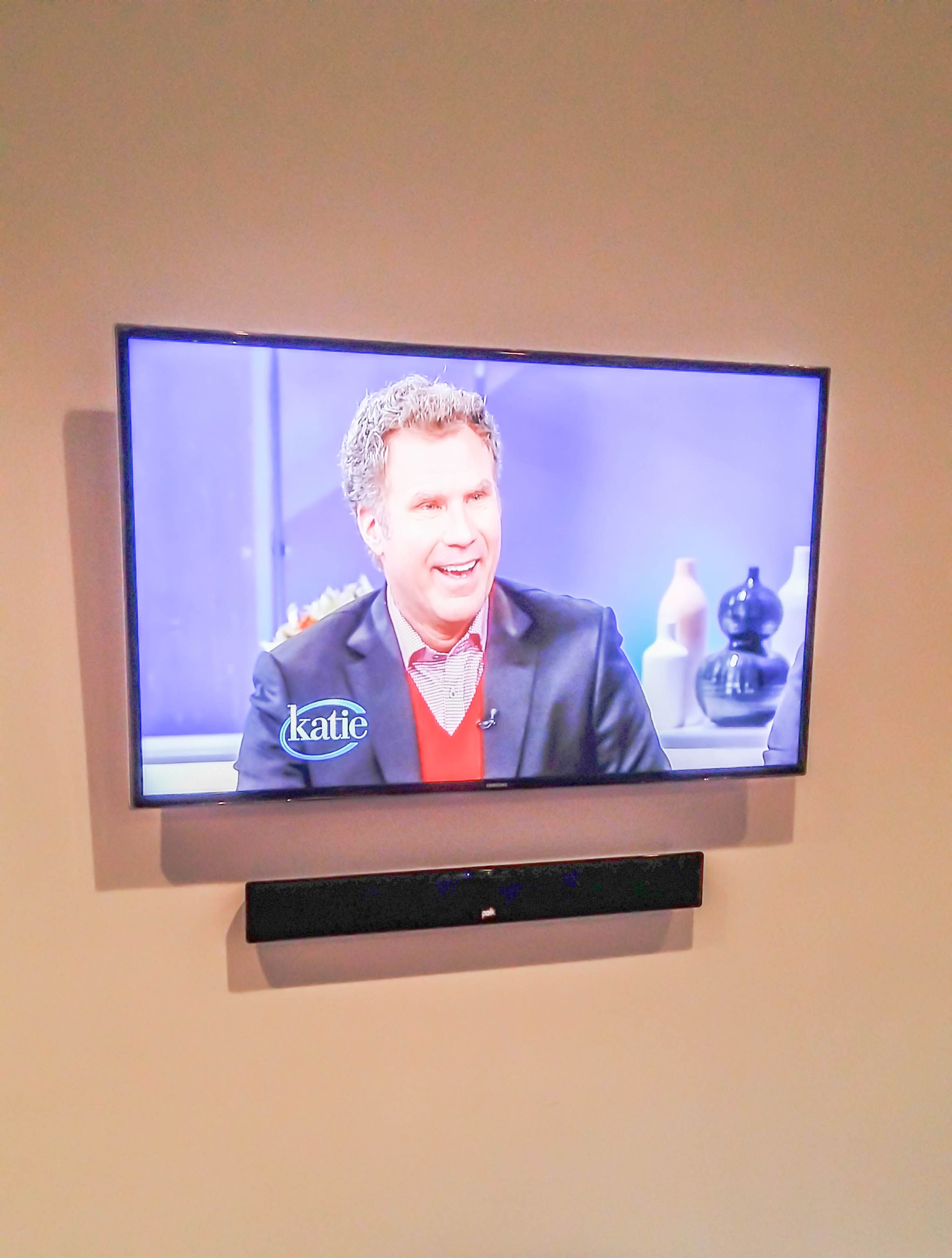 Samsung Un50f6400 Led 3d Smart Tv Wall Mounted Above The Polk