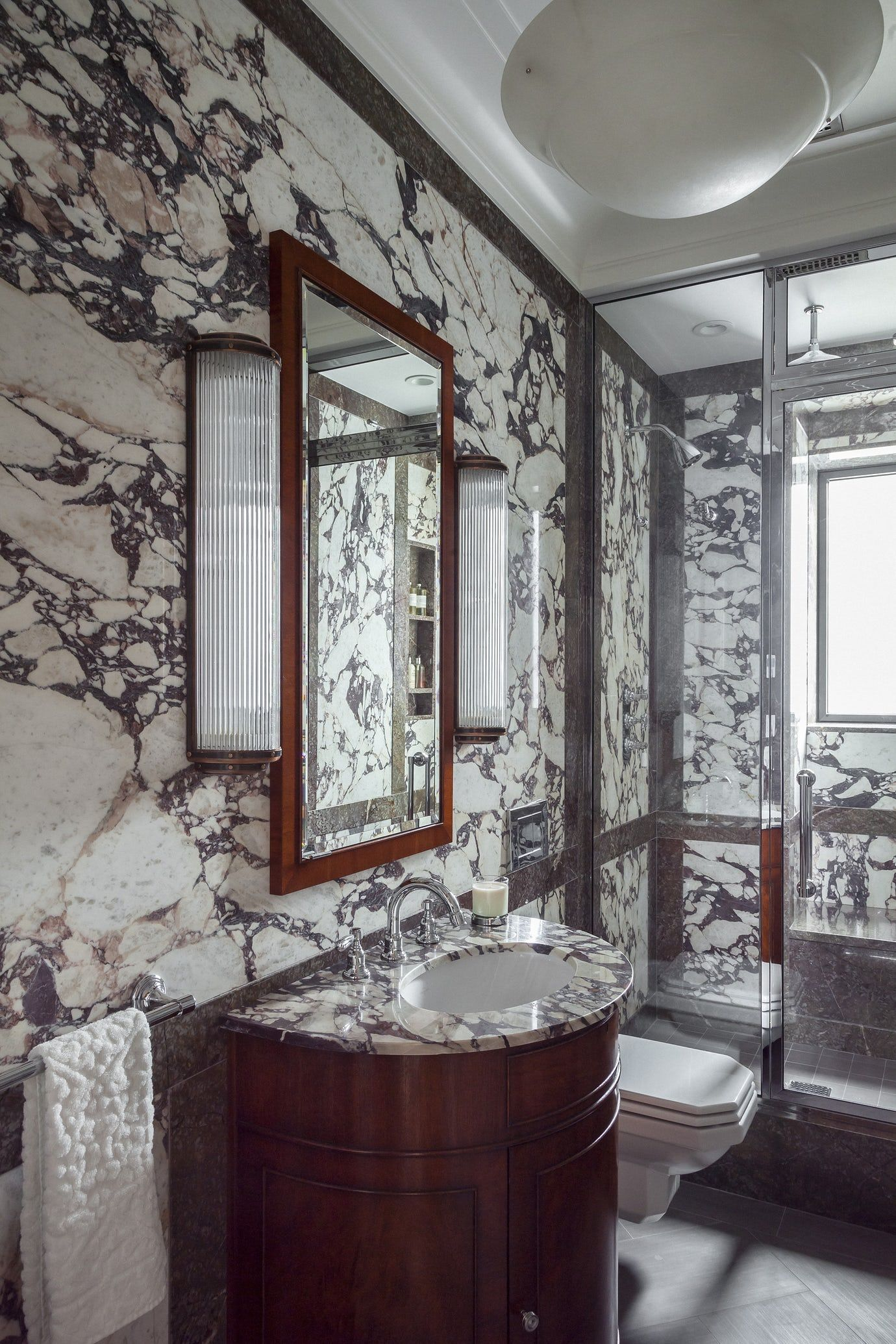 Park Avenue Residence, Powder Bathroom w Italian marble ...