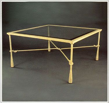 """8086  FORGED IRON TABLE SHOWN WITH OPTIONAL INSET BEVELED GLASS TOP FINISH SHOWN: DESERT SAND BASE DIMENSIONS SHOWN W 40"""" L 40"""" HT 18"""""""