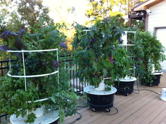 The garden can be brought inside during the colder months for Vertical garden tower