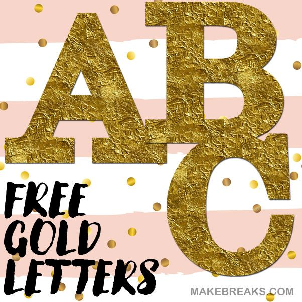 Gold Foil Style Free Printable Letters Upper Case Bold