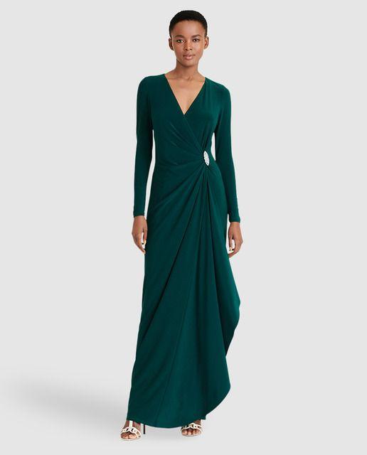 32f923394 Vestido largo de mujer Lauren Ralph Lauren en color verde oscuro ...