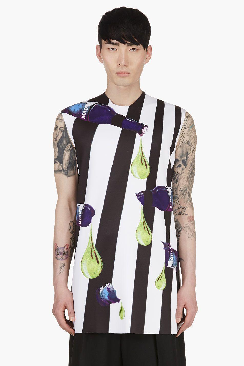 White neoprene apron - Raf Simons White Black Stripe A Line Neoprene Shirt