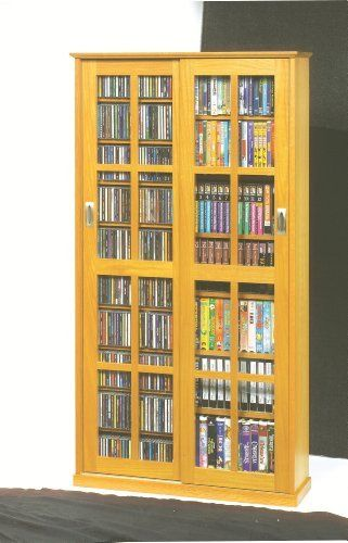 Mission Multimedia Dvd Cd Storage Cabinet With Sliding Glass Doors