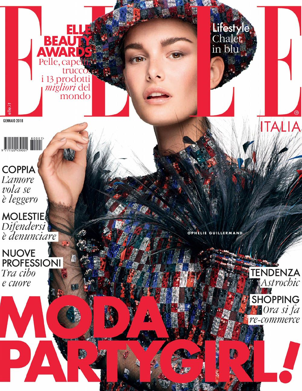 Ophelie Guillermand Covers Elle Italia January 2018 By Alexei Hay Fashion Magazine Cover Magazine Cover Italy Magazine