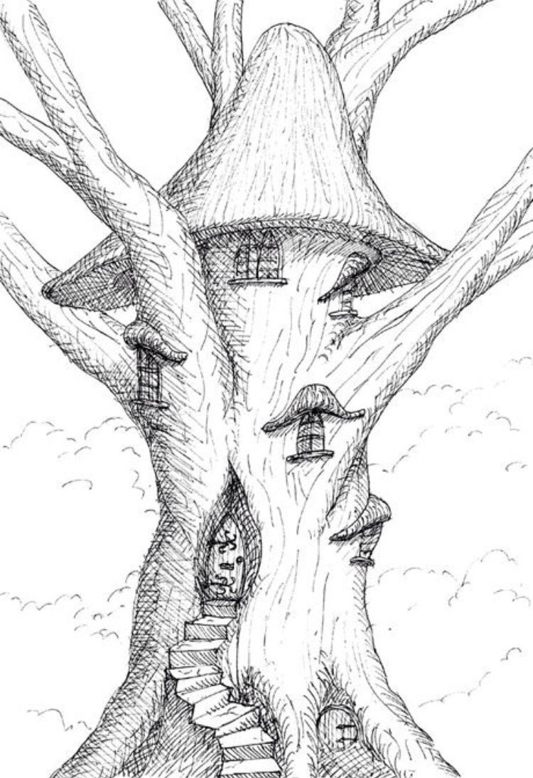 Drawing idea | Fairy drawings, Tree house drawing, Fantasy ...