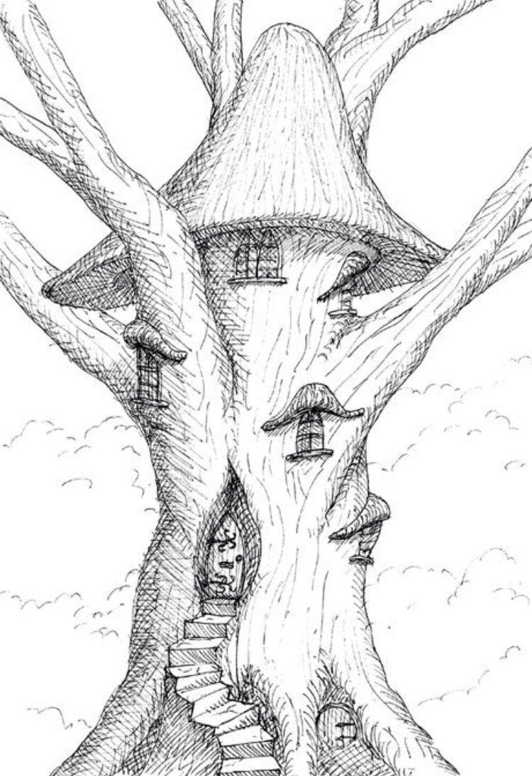 сказочное дерево рисунки карандашом подарят множество